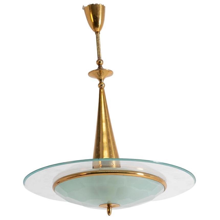 Italian Chandelier by Fontana Arte in Brass and Cristal, 1950s