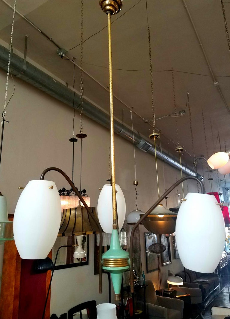 Italian 1950s bras chandelier and tree opaline glass shades.
