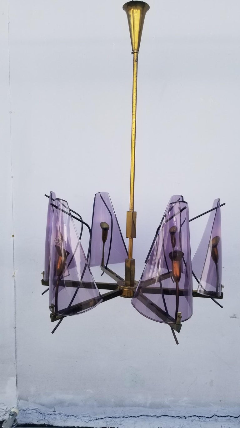 Chandelier by Stilux Milano, original condition some imperfection on the Purple - Lavender color Plexiglass shades.