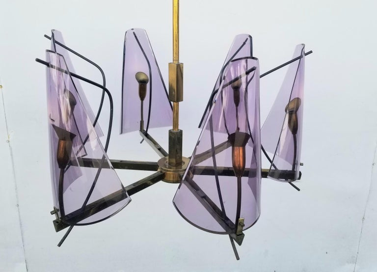 Brass Italian Chandelier by Stilux Milano For Sale