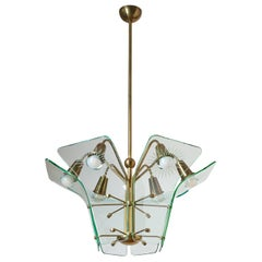 Italian Chandelier, circa 1960, Curved Glass and Brass