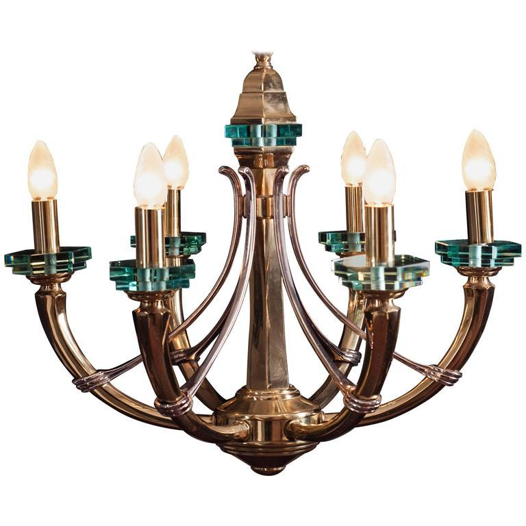 Italian Chandelier Fontana Arte Style, 1960s In Good Condition For Sale In Budapest, HU