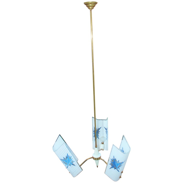 Brass Italian chandelier, period 1950 s brass base and glass.