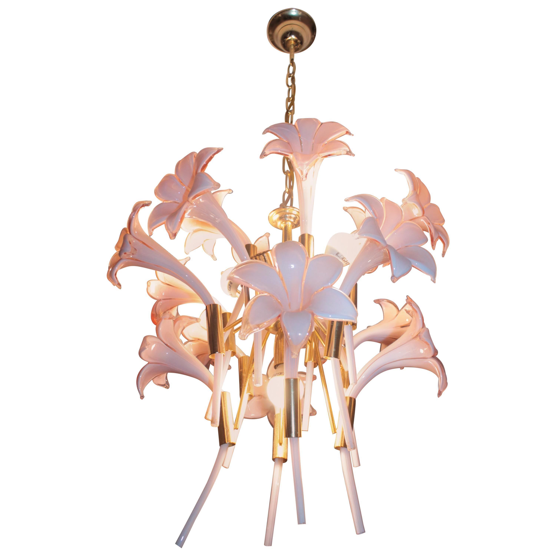 Italian Chandelier Franco Luce Design 1970s Murano Glass Flowers