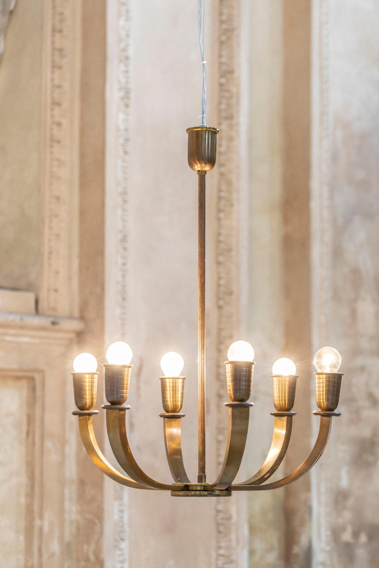 Italian Chandelier from the '30s In Excellent Condition For Sale In Carpaneto Piacentino, Italy