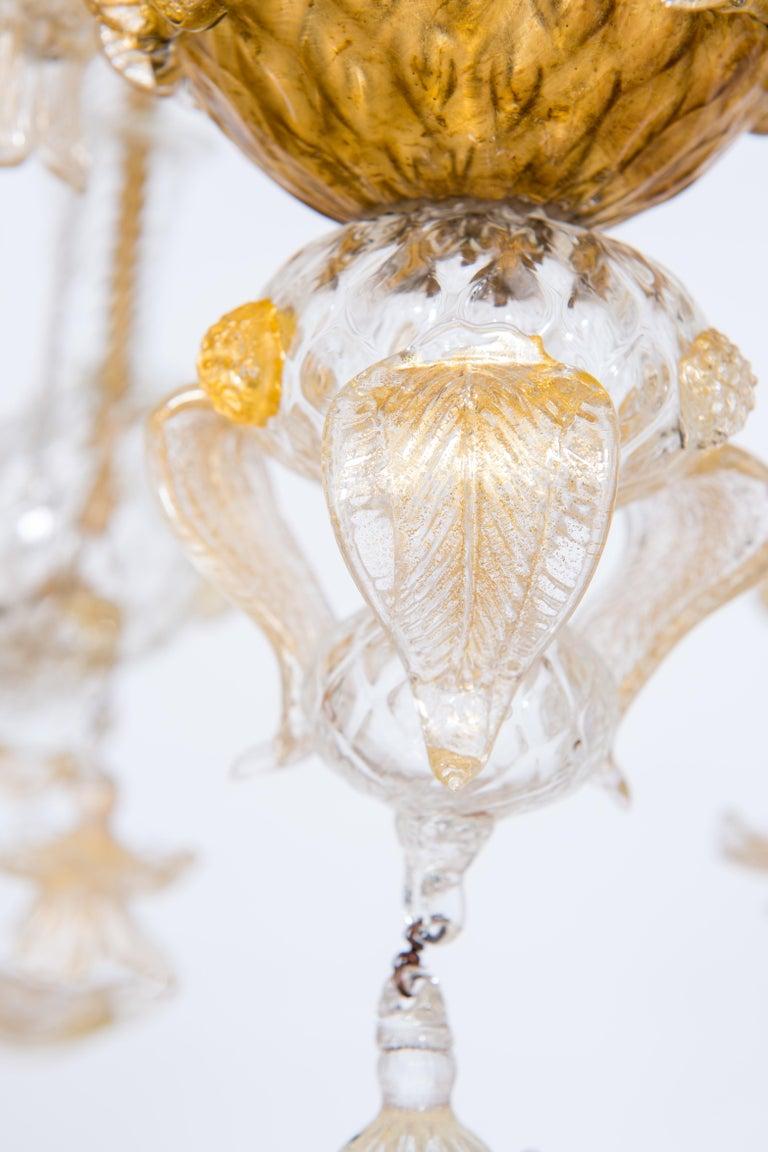 Italian Chandelier in Blown Murano Glass 24-Karat Gold Giovanni Dalla Fina 1980s For Sale 4