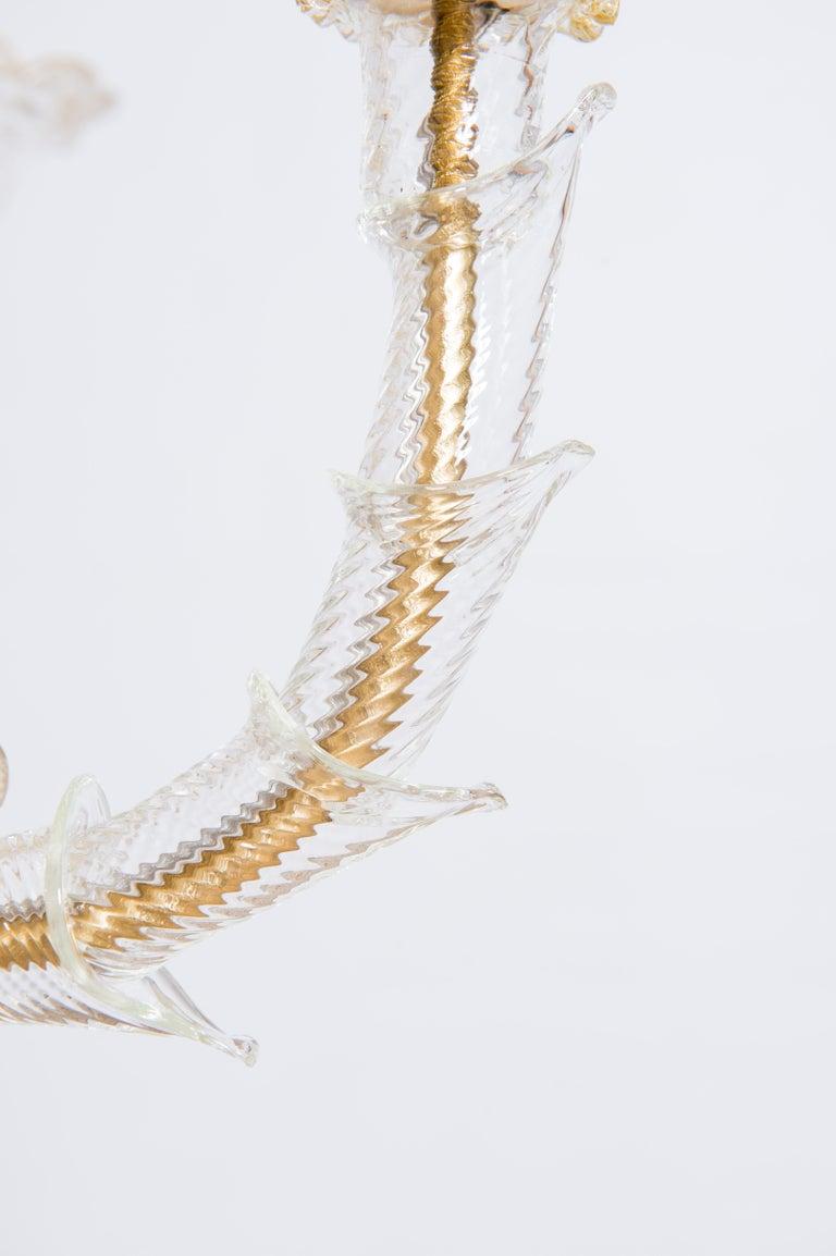 Italian Chandelier in Blown Murano Glass 24-Karat Gold Giovanni Dalla Fina 1980s For Sale 8