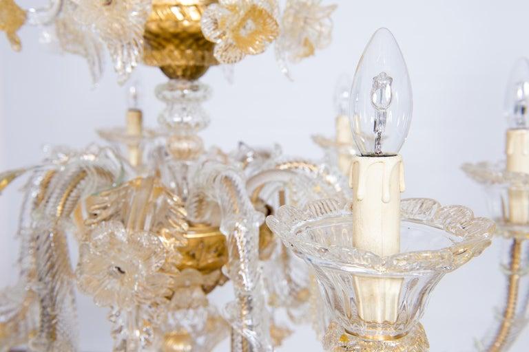Italian Chandelier in Blown Murano Glass 24-Karat Gold Giovanni Dalla Fina 1980s For Sale 9