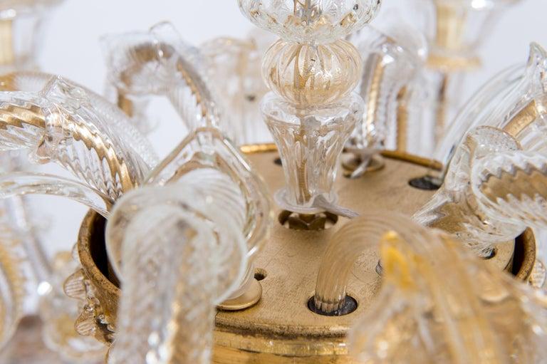 Italian Chandelier in Blown Murano Glass 24-Karat Gold Giovanni Dalla Fina 1980s For Sale 10