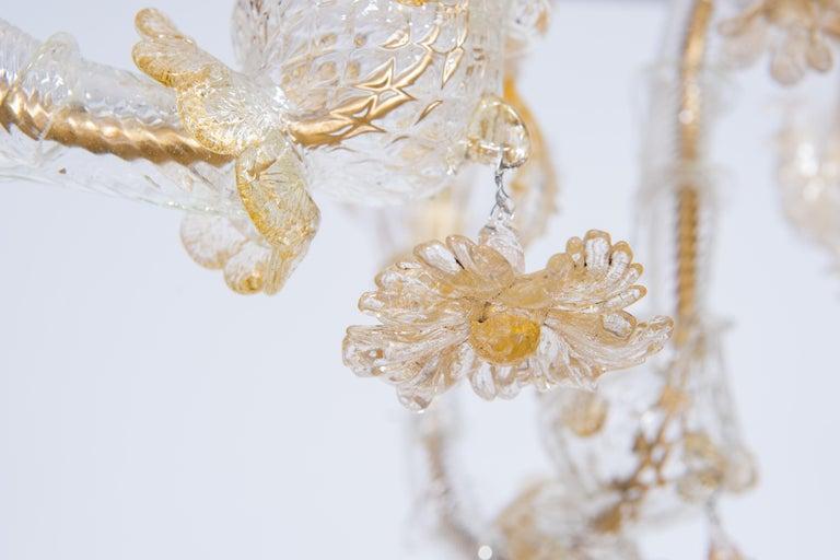 Italian Chandelier in Blown Murano Glass 24-Karat Gold Giovanni Dalla Fina 1980s For Sale 11
