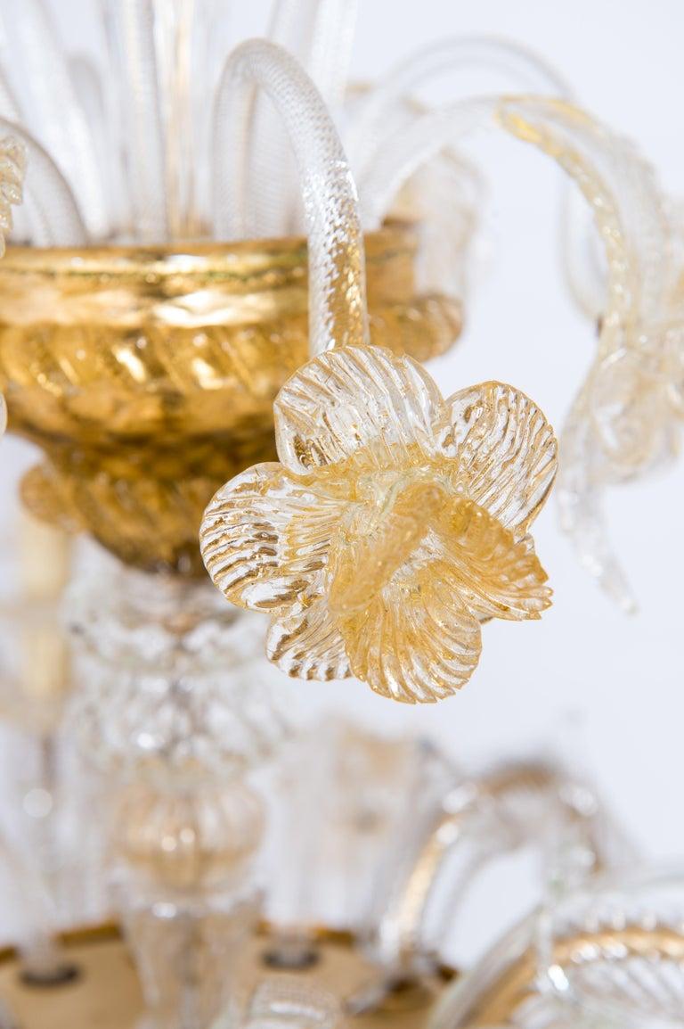 Italian Chandelier in Blown Murano Glass 24-Karat Gold Giovanni Dalla Fina 1980s For Sale 13