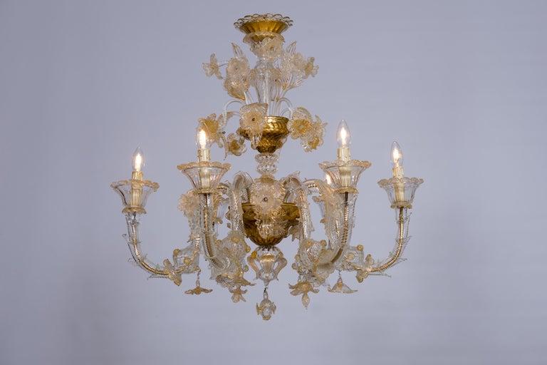 Italian Chandelier in Blown Murano Glass 24-Karat Gold Giovanni Dalla Fina 1980s For Sale 14