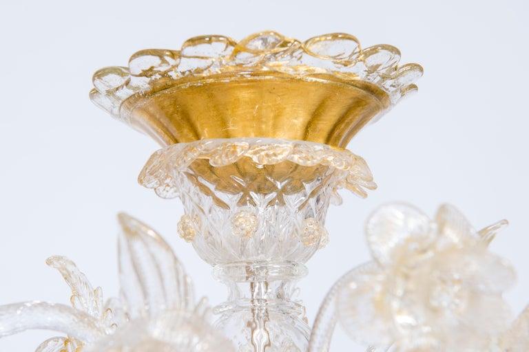 Baroque Italian Chandelier in Blown Murano Glass 24-Karat Gold Giovanni Dalla Fina 1980s For Sale