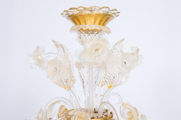Hand-Crafted Italian Chandelier in Blown Murano Glass 24-Karat Gold Giovanni Dalla Fina 1980s For Sale