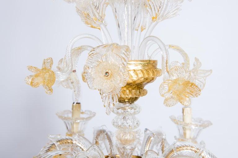 Italian Chandelier in Blown Murano Glass 24-Karat Gold Giovanni Dalla Fina 1980s In Excellent Condition For Sale In Villaverla, IT