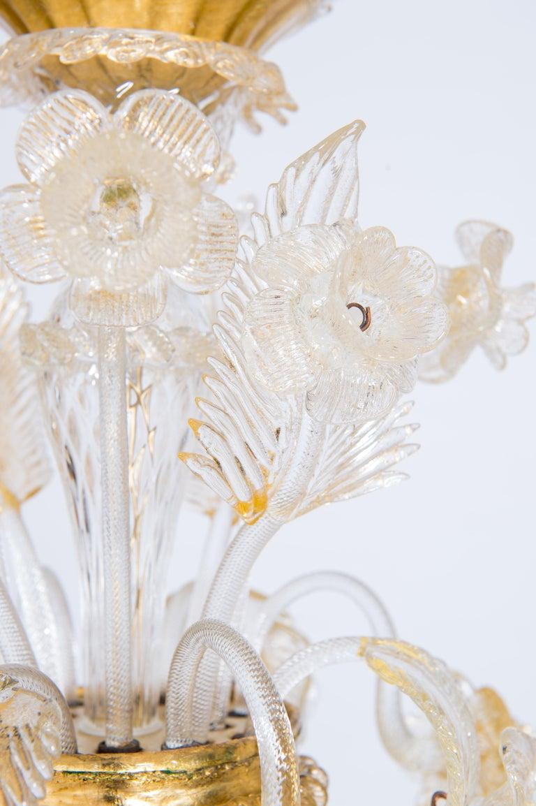 Late 20th Century Italian Chandelier in Blown Murano Glass 24-Karat Gold Giovanni Dalla Fina 1980s For Sale