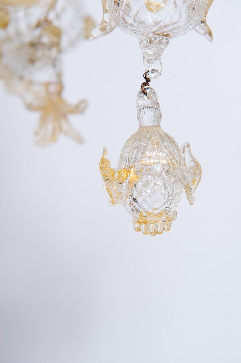 Italian Chandelier in Blown Murano Glass 24-Karat Gold Giovanni Dalla Fina 1980s For Sale 3