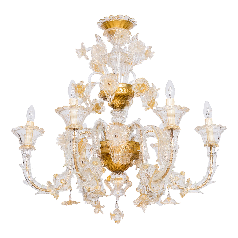 Italian Chandelier in Blown Murano Glass 24-Karat Gold Giovanni Dalla Fina 1980s