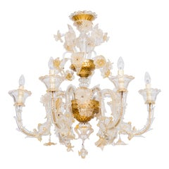 Italian Chandelier in Blown Murano Glass 24-Karat Gold Giovanni Dalla Fina 1980s