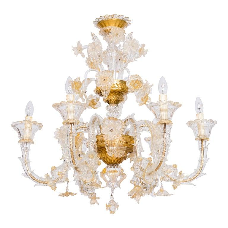 Italian Chandelier in Blown Murano Glass 24-Karat Gold Giovanni Dalla Fina 1980s For Sale