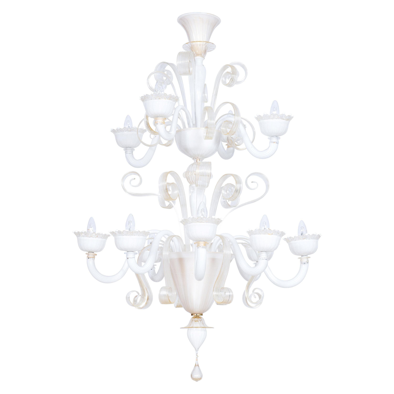 White Milk Chandelier Blown Murano Glass Gold Finishes Giovanni Dalla Fina Italy