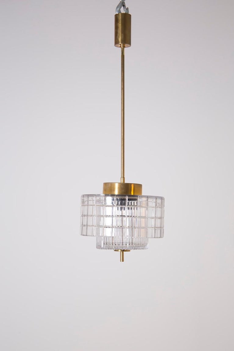 Mid-Century Modern Italian Chandelier in Bohemia Crystal and Brass, 1960s For Sale