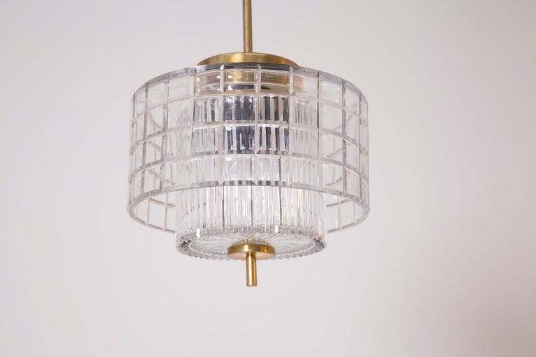 Mid-20th Century Italian Chandelier in Bohemia Crystal and Brass, 1960s For Sale