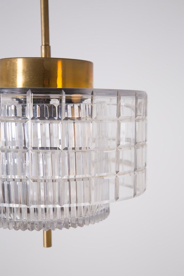 Italian Chandelier in Bohemia Crystal and Brass, 1960s For Sale 1