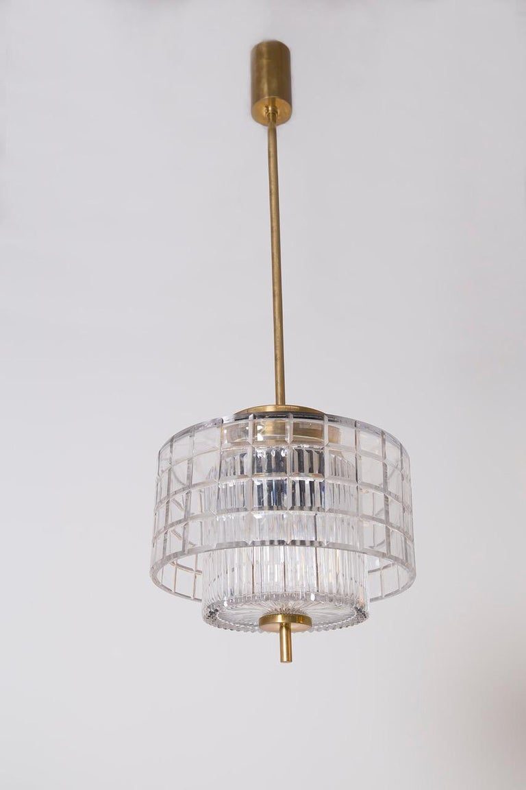 Italian Chandelier in Bohemia Crystal and Brass, 1960s For Sale 4