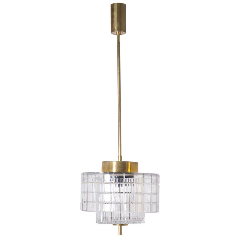 Italian Chandelier in Bohemia Crystal and Brass, 1960s For Sale