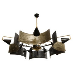 Italian Chandelier in Brass and Black Metal with Smoked Murano Glass Shields