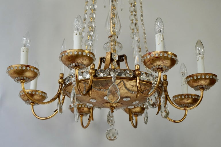 Italian Chandelier in Brass and Crystal For Sale 6