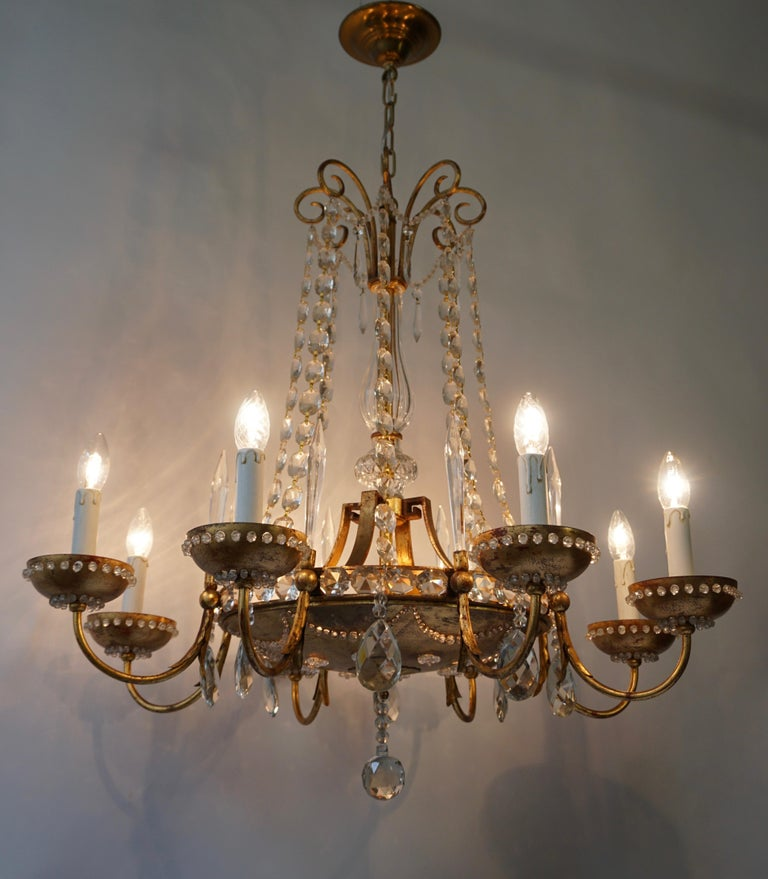 Italian Chandelier in Brass and Crystal For Sale 7