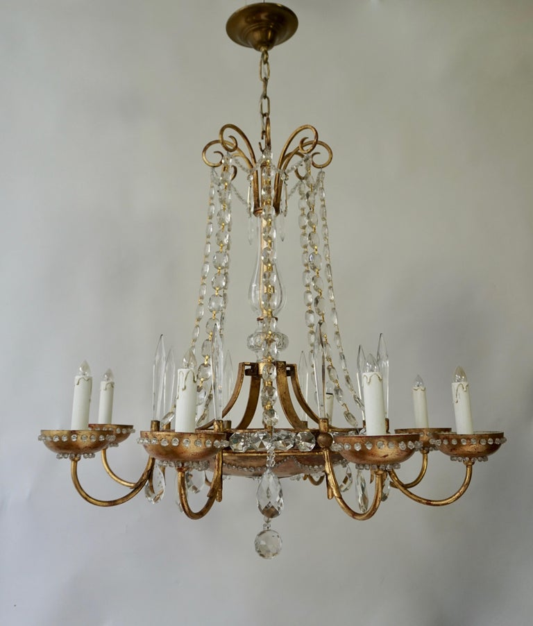 Italian Chandelier in Brass and Crystal In Good Condition For Sale In Antwerp, BE
