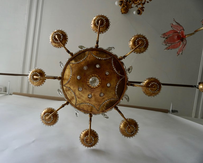 20th Century Italian Chandelier in Brass and Crystal For Sale