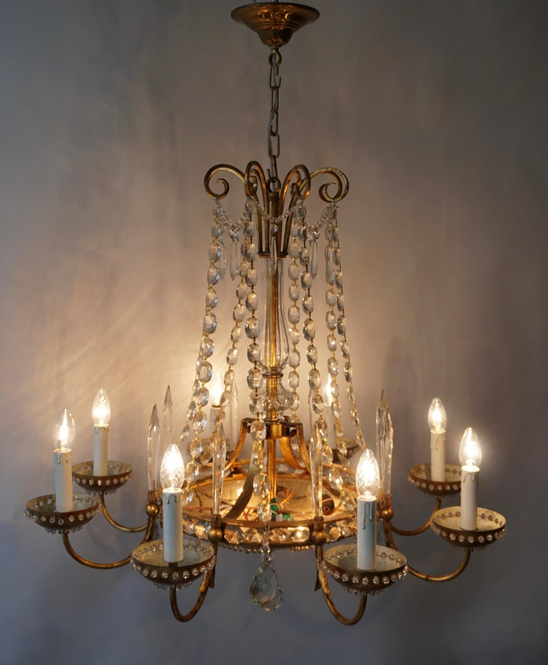 Italian Chandelier in Brass and Crystal For Sale 3