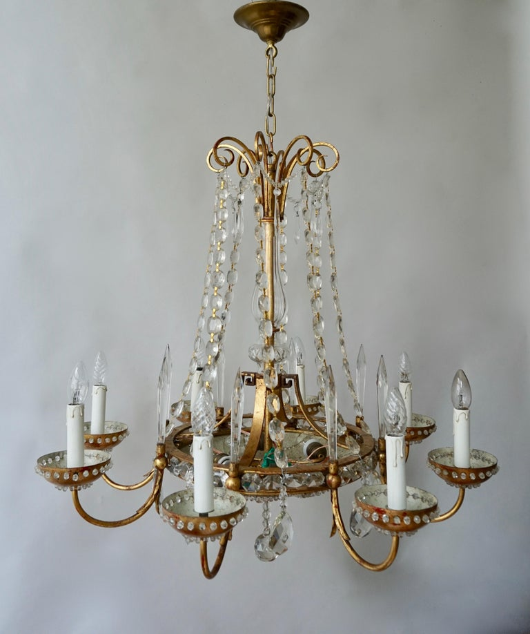 Italian Chandelier in Brass and Crystal For Sale 4