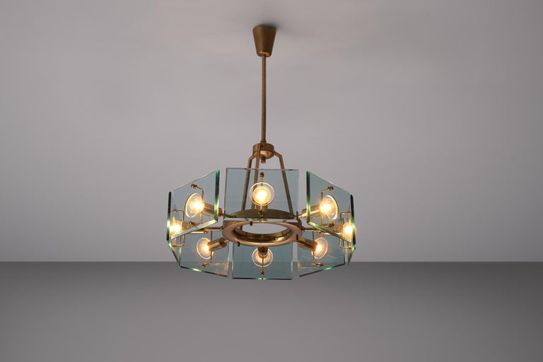 Gino Paroldo, chandelier, brass and glass, Italy, 1950s