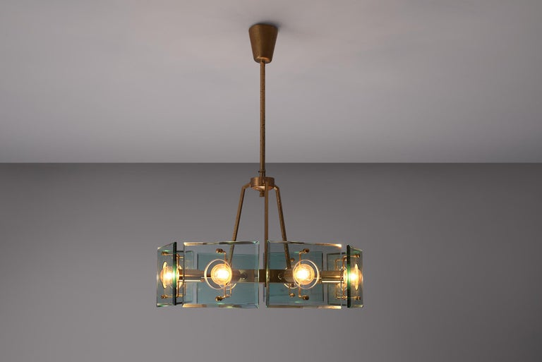 Mid-Century Modern Italian Chandelier in Brass and Glass by Gino Paroldo For Sale