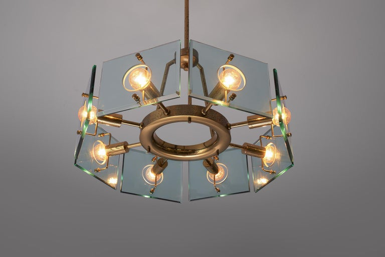 Mid-20th Century Italian Chandelier in Brass and Glass by Gino Paroldo For Sale
