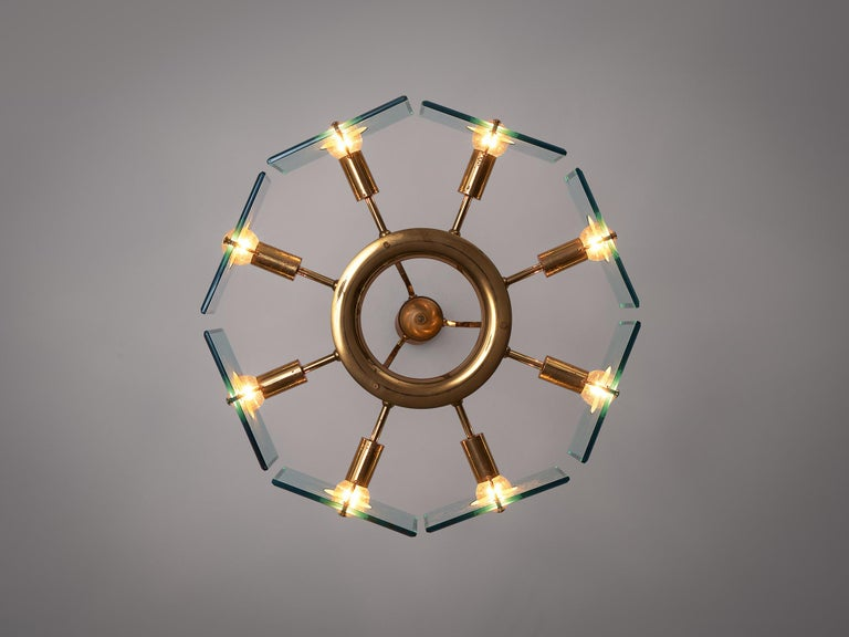 Italian Chandelier in Brass and Glass by Gino Paroldo For Sale 1