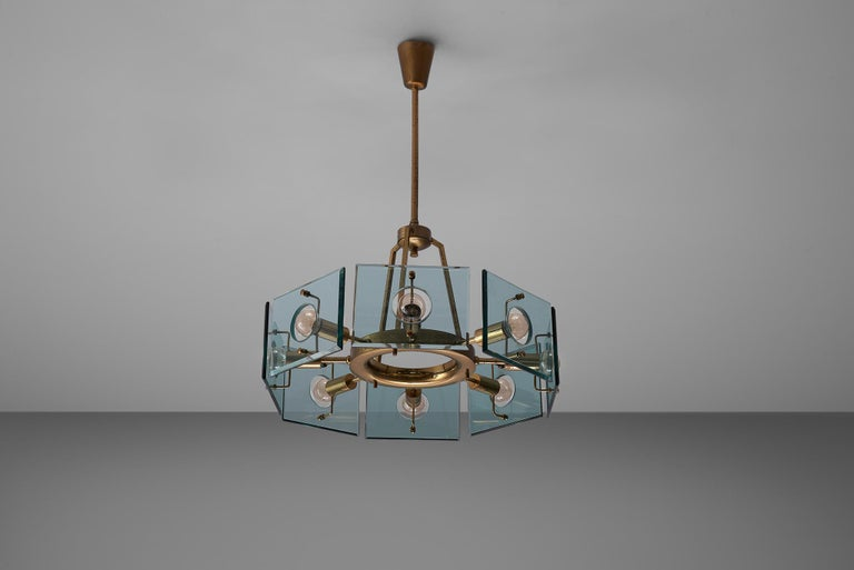 Italian Chandelier in Brass and Glass by Gino Paroldo For Sale 2