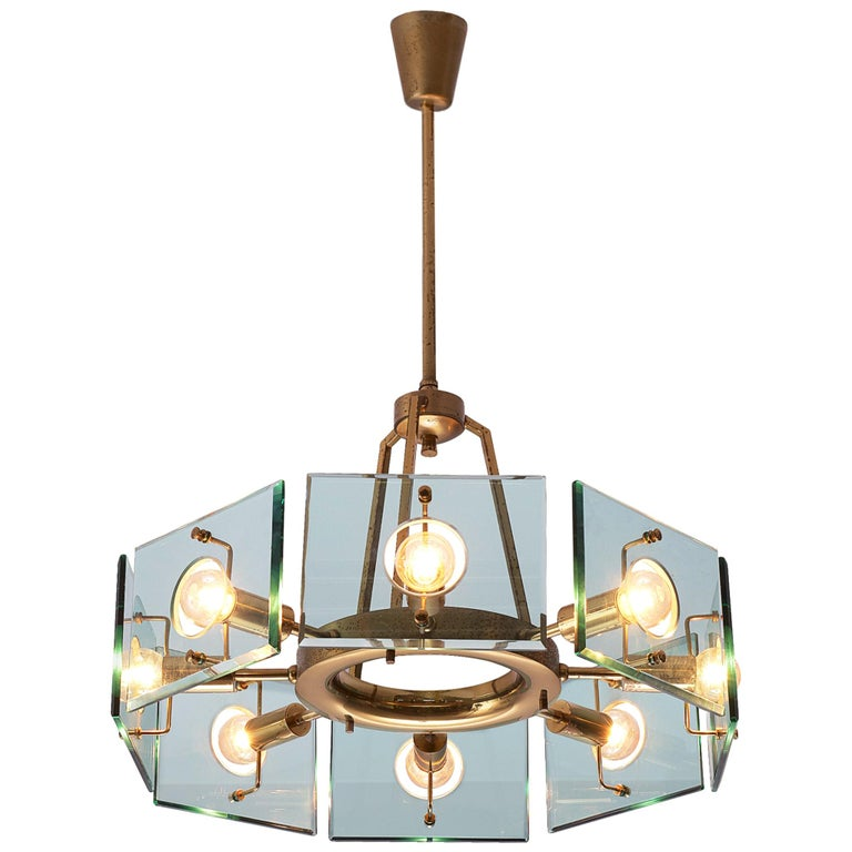 Italian Chandelier in Brass and Glass by Gino Paroldo For Sale