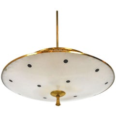 Italian Chandelier in Brass and Glass from the 1950s