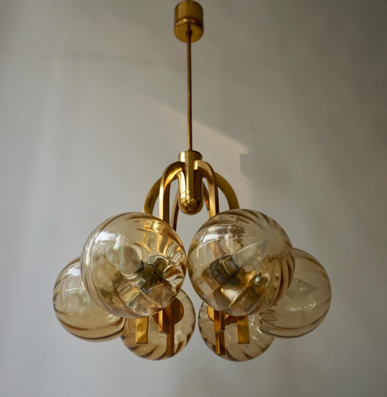 Italian Chandelier in Brass and Murano Glass For Sale 8