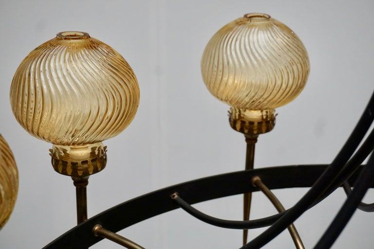 Italian Chandelier in Brass and Murano Glass For Sale 10