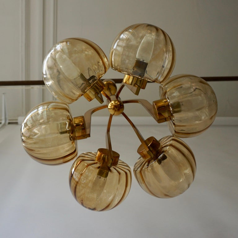Italian Chandelier in Brass and Murano Glass For Sale 12
