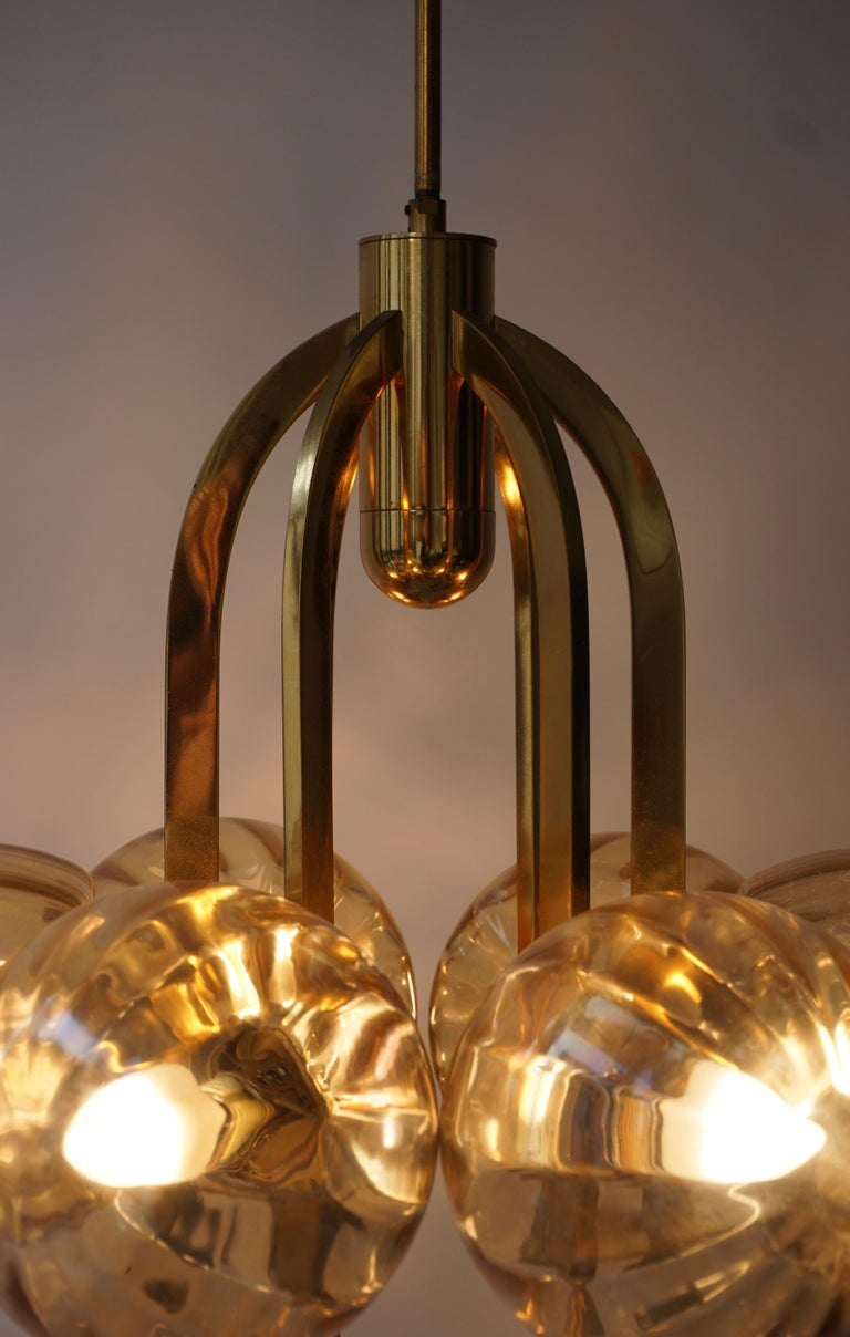 Italian Chandelier in Brass and Murano Glass For Sale 13