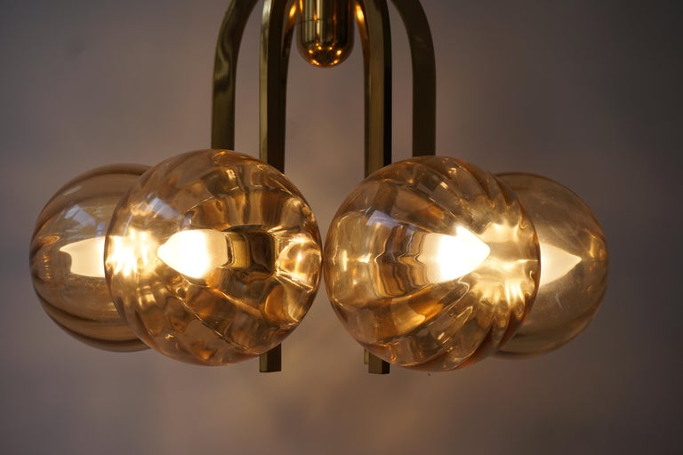 Italian Chandelier in Brass and Murano Glass For Sale 14