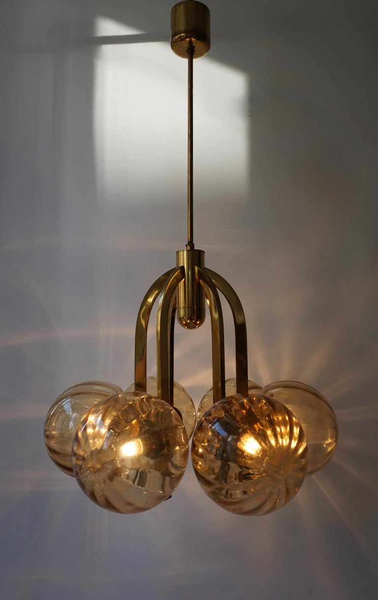 Italian Chandelier in Brass and Murano Glass In Good Condition For Sale In Antwerp, BE